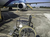 Wheelchair patients Airport, Disabled person in the interior of the airport stock photo