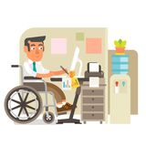 Wheelchair person in office. Differently abled person working in office Royalty Free Stock Photography