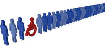 Wheelchair person waiting in queue stock illustration