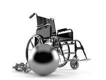 Wheelchair with prison ball royalty free stock photos