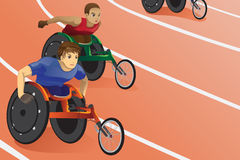 Wheelchair race. A vector illustration of athletes in wheelchair racing in a competition Royalty Free Stock Photos