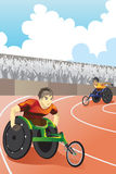 Wheelchair race. A vector illustration of athletes in wheelchair racing in a competition inside a stadium Royalty Free Stock Images