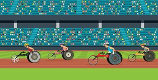 Wheelchair Race of the Disabled royalty free illustration