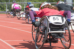 Wheelchair race stadiium Royalty Free Stock Images