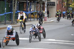 Wheelchair racers in New York City Marathon 2014 Royalty Free Stock Photography