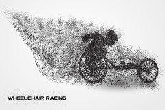 Wheelchair racing of a silhouette from particle. Background and text on a separate layer. color can be changed in one click Stock Image