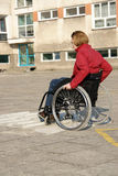 Wheelchair ride practice Royalty Free Stock Images