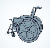 wheelchair rysuje tła trawy kwiecistego wektora ilustracja wektor