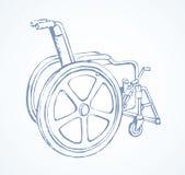 wheelchair rysuje tła trawy kwiecistego wektora royalty ilustracja