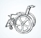 wheelchair rysuje tła trawy kwiecistego wektora ilustracji
