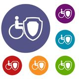Wheelchair and safety shield icons set Stock Photography
