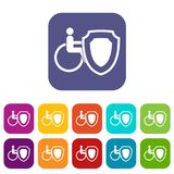 Wheelchair and safety shield icons set. Vector illustration in flat style in colors red, blue, green, and other vector illustration