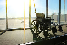 Wheelchair Service in Airport Terminal Stock Photo