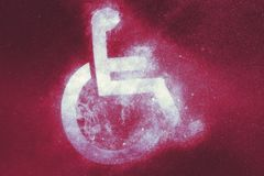 Wheelchair sign, Disabled symbol. Abstract background. Symbol royalty free illustration