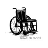 Wheelchair silhouette with shadow and text Stock Image