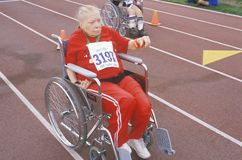 Wheelchair Special Olympics athlete Royalty Free Stock Image