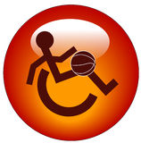 Wheelchair sports web button. Red web button or icon for handicap sports or participation - vector Royalty Free Stock Photos