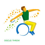 Wheelchair sportsman throwing discus. Flat sport icon. Stock Images
