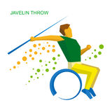 Wheelchair sportsman throwing javelin. Flat sport  icon. Stock Images
