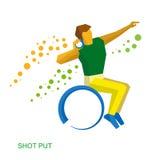 Wheelchair sportsman throwing shot. Stock Image
