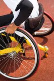 Wheelchair sportsmen. At race track Stock Photo