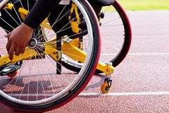 Wheelchair sportsmen. At race track Stock Photos