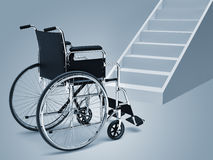 Wheelchair and stairs vector illustration