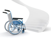 Wheelchair and stairs Royalty Free Stock Photography