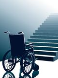 Wheelchair and stairs, vector. Empty wheel chair and stairs to the light, vector Royalty Free Stock Images