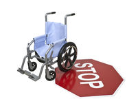 Wheelchair and Stop Sign Stock Photos