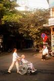 Wheelchair on street in Hanoi,Vietnam. Royalty Free Stock Photo