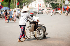 Wheelchair on street in Hanoi,Vietnam. Royalty Free Stock Image