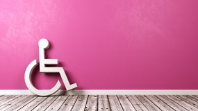 Wheelchair Symbol Against Wall with Copyspace. White Wheelchair Symbol Shape on Wooden Floor Against Purple Wall with Copyspace 3D Illustration vector illustration