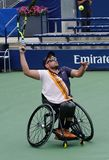 Wheelchair tennis player Dylan Alcott of Australia in action during his Wheelchair Quad Singles semifinal match at 2018 US Open stock images
