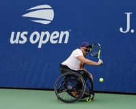 Wheelchair tennis player Dylan Alcott of Australia in action during his Wheelchair Quad Singles semifinal match at 2018 US Open royalty free stock image