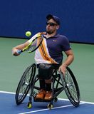 Wheelchair tennis player Dylan Alcott of Australia in action during his Wheelchair Quad Singles semifinal match at 2018 US Open stock photos