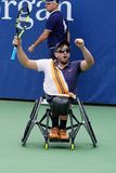 Wheelchair tennis player Dylan Alcott of Australia celebrates victory after his Wheelchair Quad Singles semifinal match royalty free stock photography
