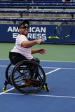 Wheelchair tennis player Dylan Alcott of Australia celebrates victory after his Wheelchair Quad Singles semifinal match stock photo