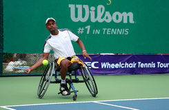A wheelchair tennis player during a tennis championship match, t Stock Photography
