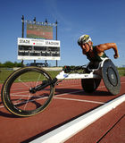 Wheelchair Track Athlete Woman. Diane Roy races in the women's 1500-metre wheelchair at the Canadian Track & Field Championships June 28, 2014 in Moncton, Canada Stock Photo