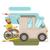 Wheelchair transport. Differently abled wheelchair transport illustration Royalty Free Stock Photography