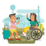 Wheelchair travel couple. Differently abled girl on wheelchair traveling with boyfriend Royalty Free Stock Photos