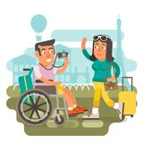 Wheelchair travel couple. Differently abled male on wheelchair traveling with girlfriend Royalty Free Stock Images
