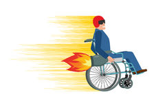 Wheelchair with turbo engine. Disabled fast rides. Man in Chair. In Moto helmet. Turbine fire Stock Photo