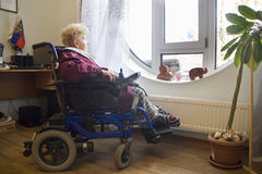 Wheelchair user looks out the window royalty free stock photography