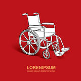 Wheelchair. Vector hand drawn illustration Royalty Free Stock Photo
