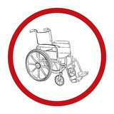 Wheelchair. Vector hand drawn illustration Stock Photos