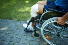 Wheelchair walk Royalty Free Stock Image