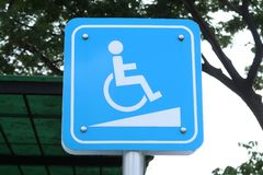 Wheelchair walkway symbol or wheelchair slope symbol royalty free stock photos