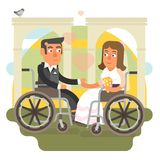 Wheelchair wedding. Differently abled couple on wheelchair getting married Royalty Free Stock Image